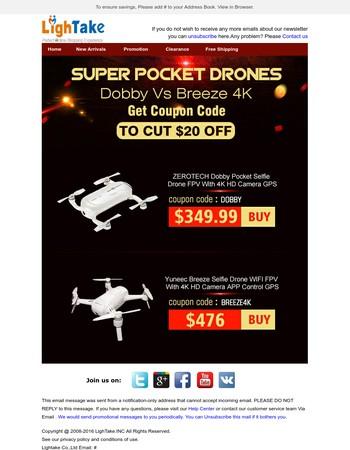 Dear  Save $20 Get Super Pocket Drones Dobby & Breeze 4K Alternative DJI Mavic