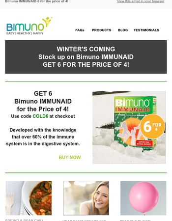 Winter's Coming - Stock Up on IMMUNAID with 6 For 4 Offer