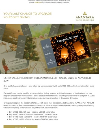 Your last chance to enjoy extra value on Anantara eGift cards