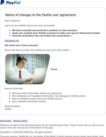 Check Your Account Activities ( Security Alert )