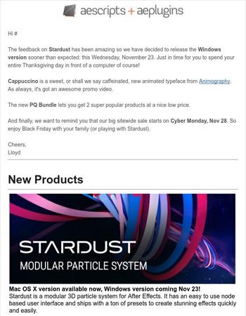 Stardust Windows version,  Animography Cappuccino + Black Friday