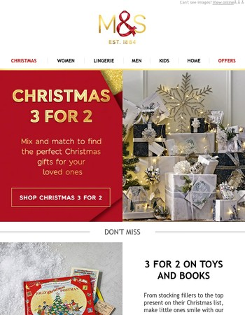 Don't miss our Christmas 3 for 2