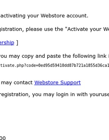 Activate your new Webstore account