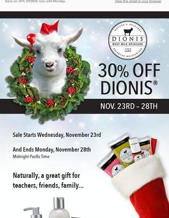 DIONIS Black Friday Sale Starts Wednesday