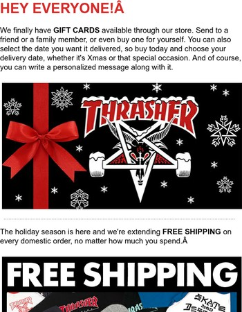 Gift Cards and Free Shipping!