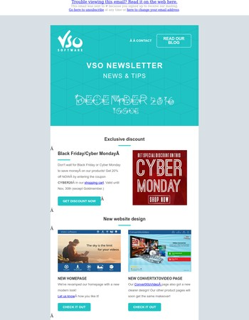 December: CyberMonday discount, new website, xmas gift guide, festive menu templates