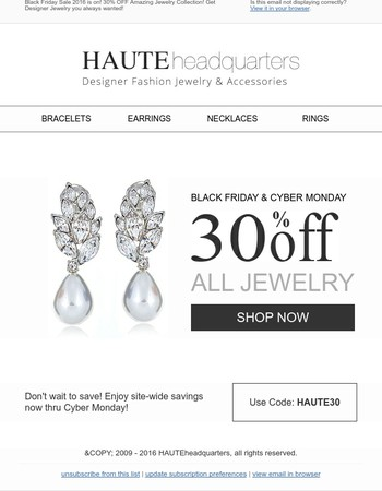 30% OFF All Jewelry Collections! Get Designer Jewelry you always wanted!