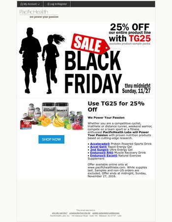 25% off all Sports Nutrition Products. Ends Sunday.