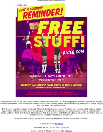 Friendly Reminder! Free Stuff!