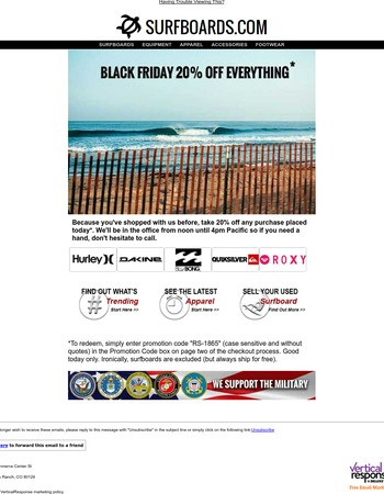 Black Friday Sale at www.Surfboards.com