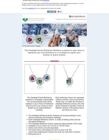 Claddagh Family Birthstone Necklace