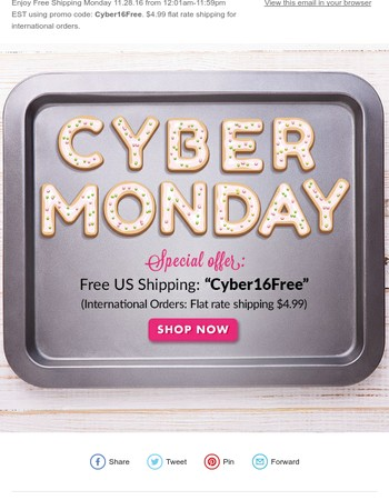 Free Shipping for Cyber Monday