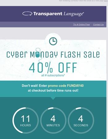 [CYBER MONDAY FLASH SALE] - Save 40% on Transparent Language Online