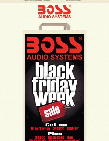 Black Friday Sale! Extra 20% Off! + 10% back in Boss Rewards + Free Shipping