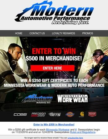 Enter to Win $500 in Merchandise!