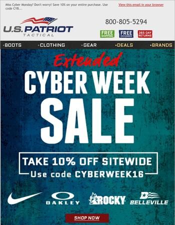 Extended Savings for Cyber Week!