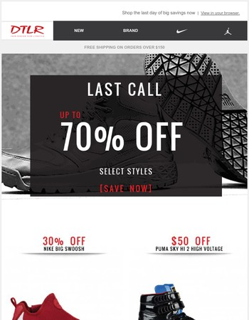 Last Chance to Save on Nike, Jordan, adidas, Puma and More
