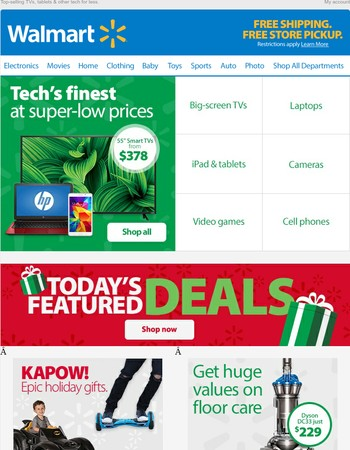 "***55"" Smart TVs from $378 and more great tech values***"