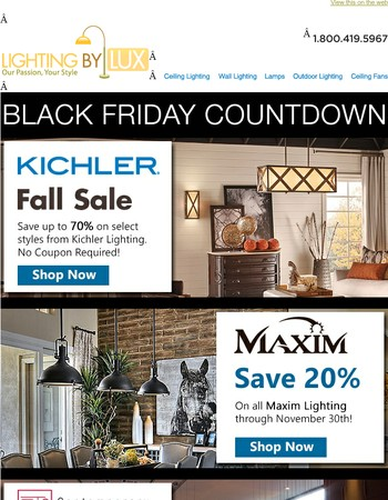 Countdown to Black Friday Sale at Lighting by Lux