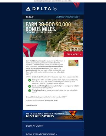 Offer Ends Tomorrow: Earn 50,000 Bonus Miles, Valued At Up To $500 Toward Delta Flights