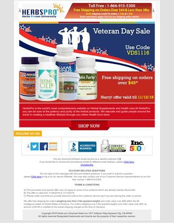 Veteran Day Sale - Free shipping Coupon