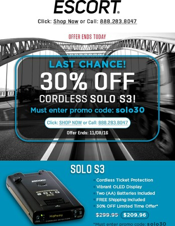 Last chance to take 30% off the Cordless SOLO S3!