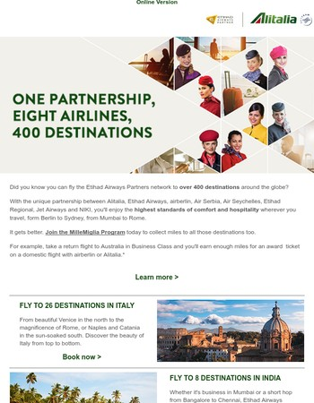 Discover our global network of over 400 destinations