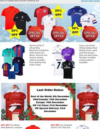 Christmas Deals On Shirts & Training Kit at Soccer Box