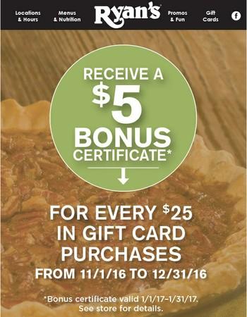 Get a $5 bonus certificate from your favorite buffet!