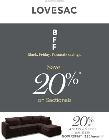 20% off Sactionals for Black Friday!