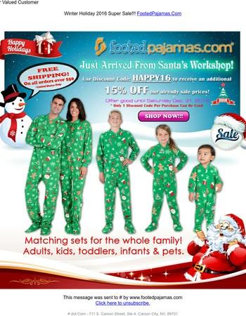 Footed Pajamas - Winter Holiday 2016 - FREE Shipping & More