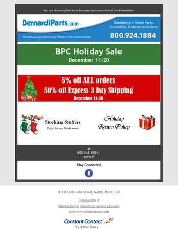5% off ALL orders - Dec 11-20