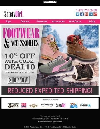 10% Off Footwear & Accessories!