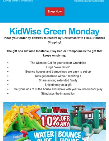 KidWise Green Monday - On Sale and Delivered in Time for Christmas!
