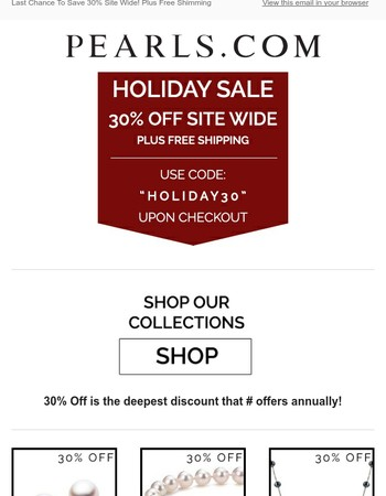 30% Off Site Wide Sale