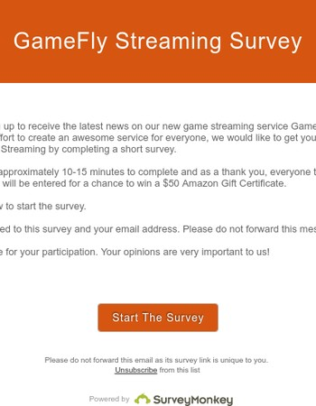 Complete the GameFly Streaming Survey for a chance to win an Amazon Gift Card
