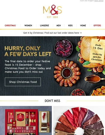 Last chance to get your Christmas food to order + fab gifts and more...