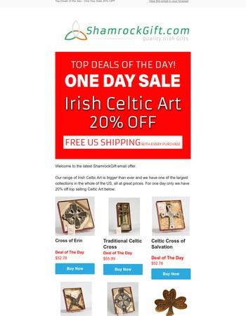 One Day Irish Celtic Arts Sale 20% OFF