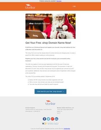 Moniker News #9 - Merry Christmas with Your Free .shop Domain