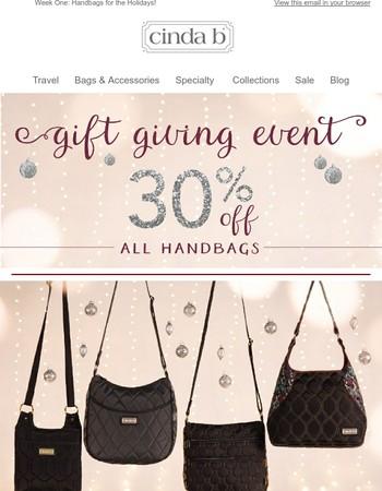 cinda b Gift Giving Event - 30% off Handbags!