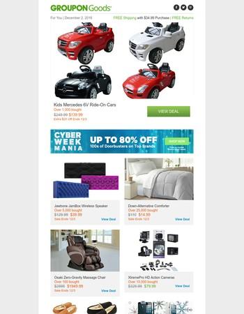 Kids Mercedes 6V Ride-On Cars, Jawbone JamBox Wireless Speaker, Down-Alternative Comforter & More