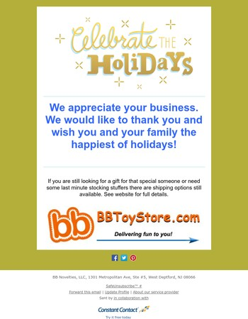 BBToyStore.com ~~~ Thank you & Happy Holidays ~~~