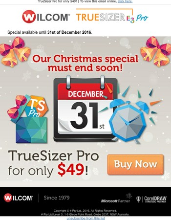 Our Christmas special must end soon! Wilcom TrueSizer Pro for $49