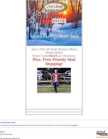 Dash Hemp's 25% Off Last Minute Men's Shirt Sale