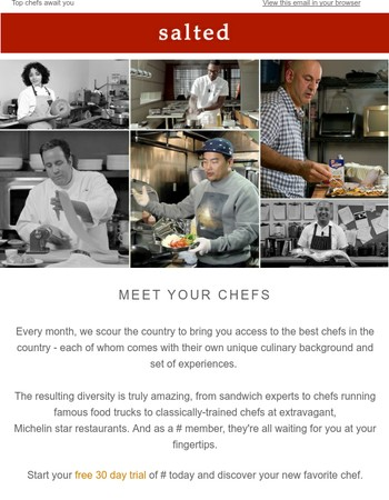 The best chefs in the country are waiting for you.