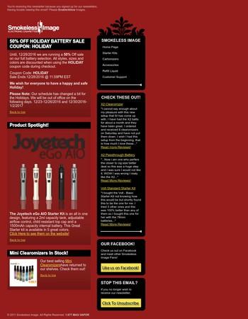 Smokeless Image | 50% Holiday Battery Sale!