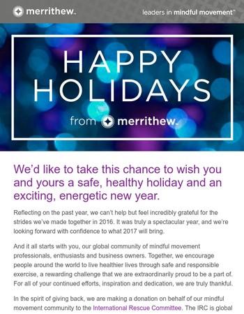 Season's Greetings from MERRITHEW!