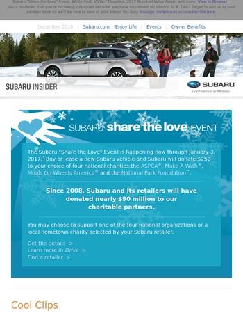 Insider – Share the Love through January 3, 2017, Subaru Recognized for Retaining Value, Cool Clips –2017 Impreza Spotlight