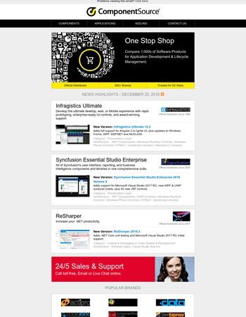 ComponentSource Customer Newsletter - December 20, 2016 edition.