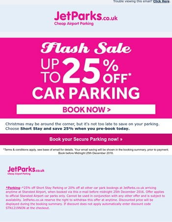 A Christmas treat from Captain Park - Save up to 25% on Stansted Airport Parking